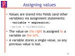 assigning values