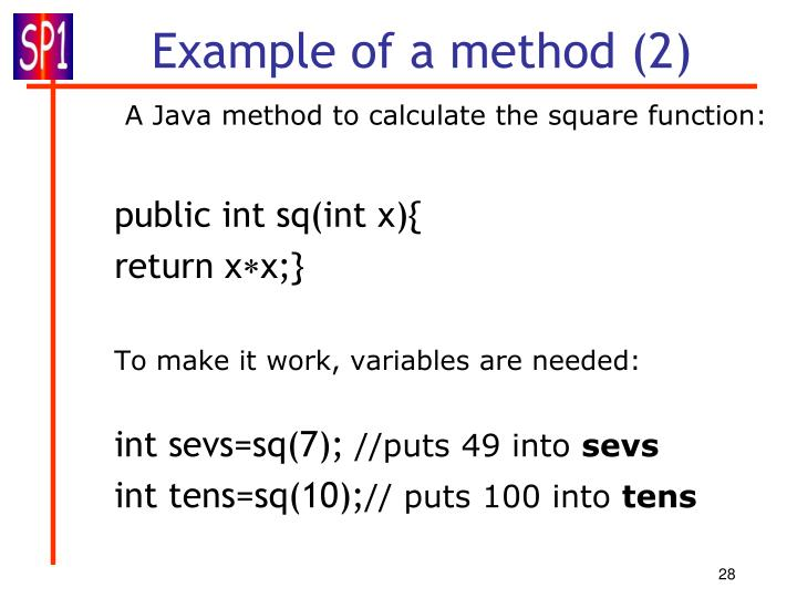 Example of a method (2)