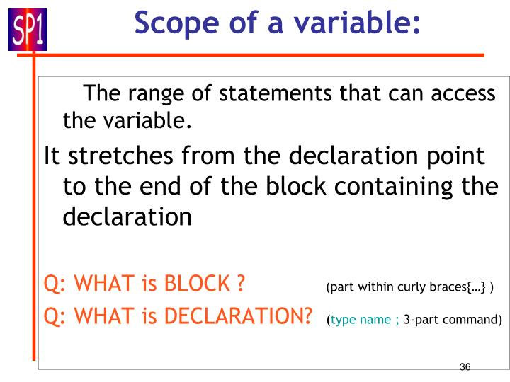Scope of a variable: