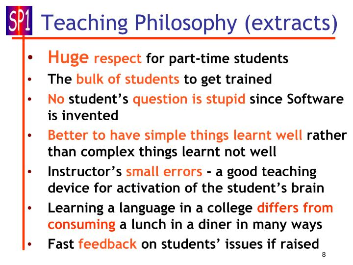 Teaching Philosophy (extracts)