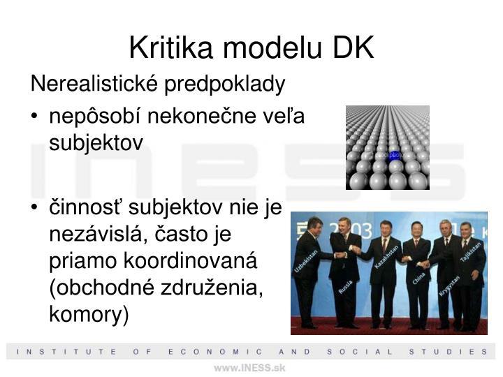 Kritika modelu DK