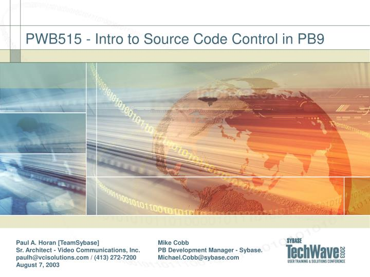 PWB515 - Intro to Source Code Control in PB9