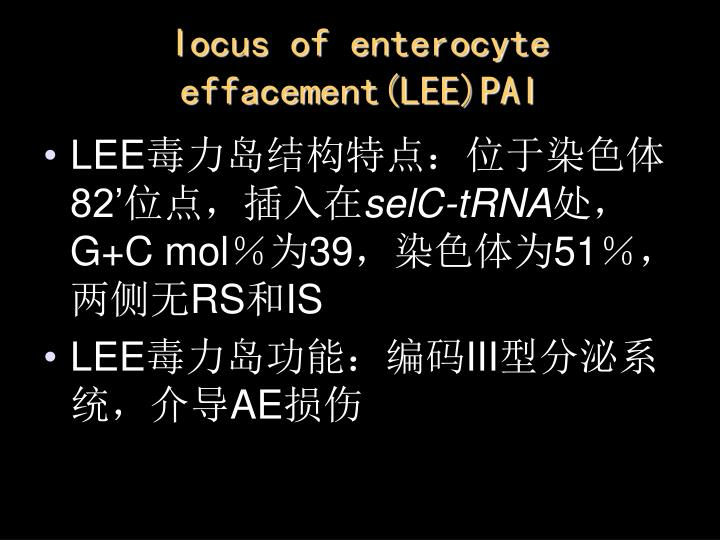 Iocus of enterocyte effacement(LEE)PAI