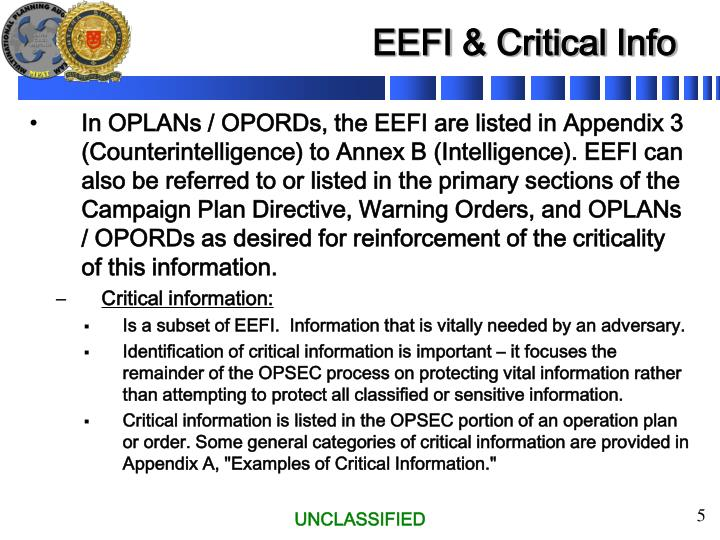EEFI & Critical Info