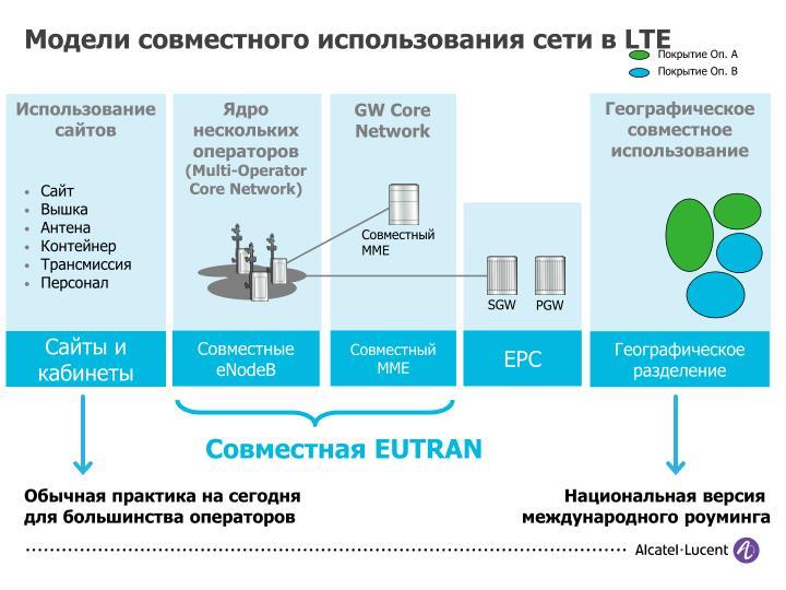 Модели совместного использования сети в