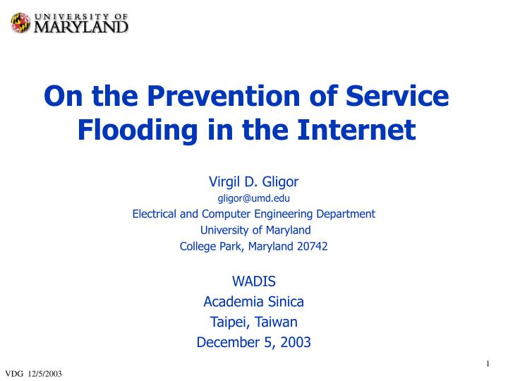 On the Prevention of Service Flooding in the Internet