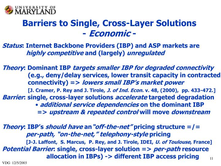 Barriers to Single, Cross-Layer Solutions