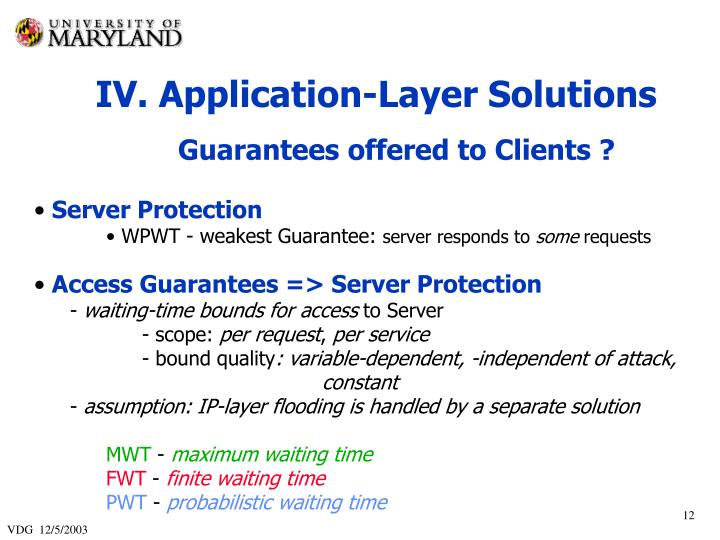 IV. Application-Layer Solutions