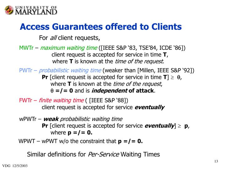 Access Guarantees offered to Clients