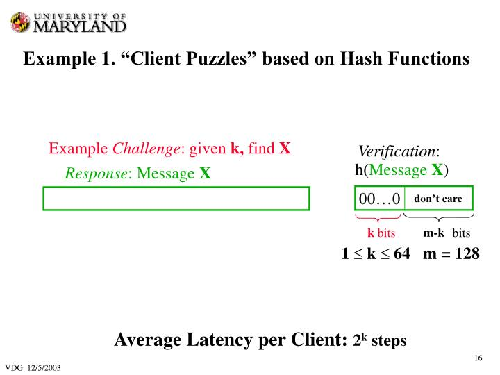 "Example 1. ""Client Puzzles"" based on Hash Functions"