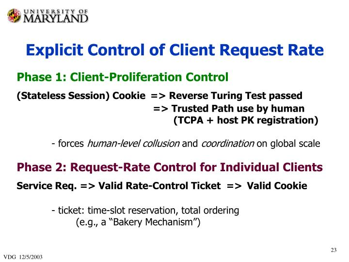 Explicit Control of Client Request Rate