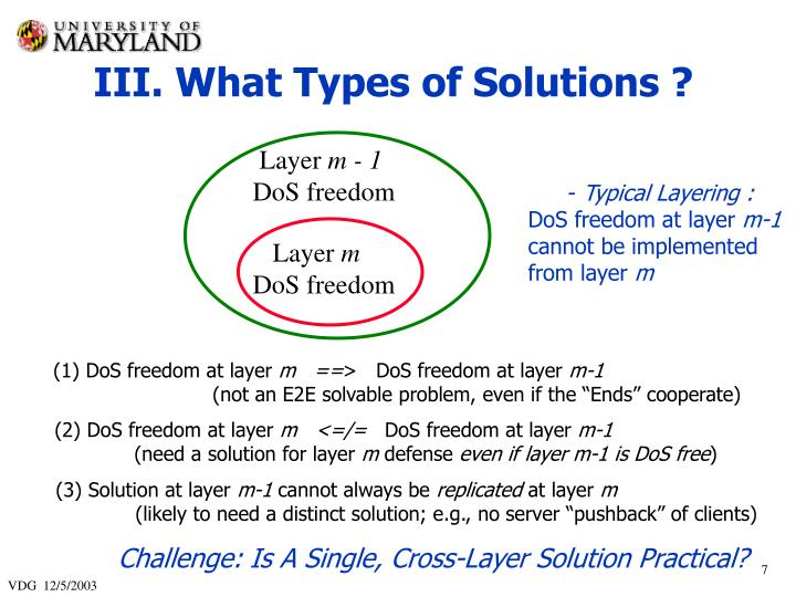 III. What Types of Solutions ?