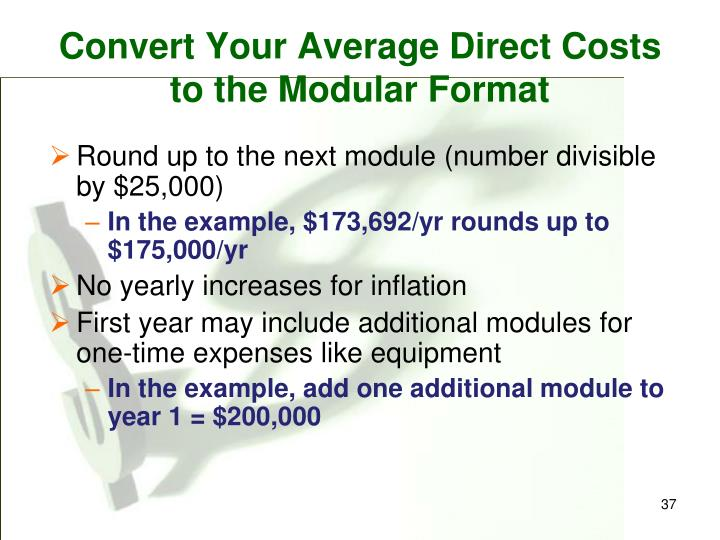 Convert Your Average Direct Costs to the Modular Format