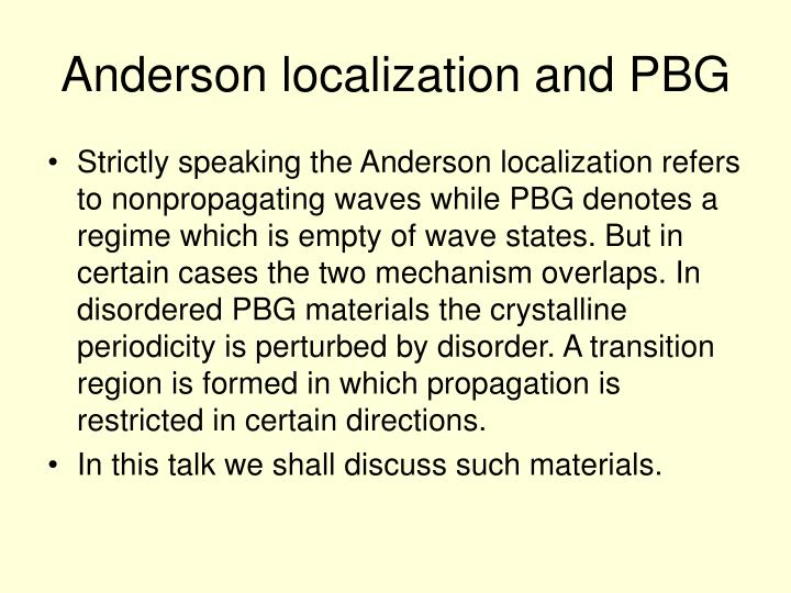 Anderson localization and PBG