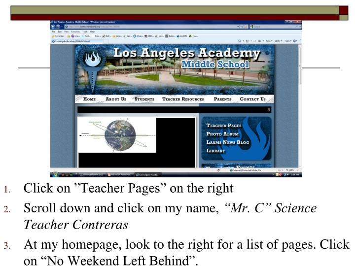 """Click on """"Teacher Pages"""" on the right"""