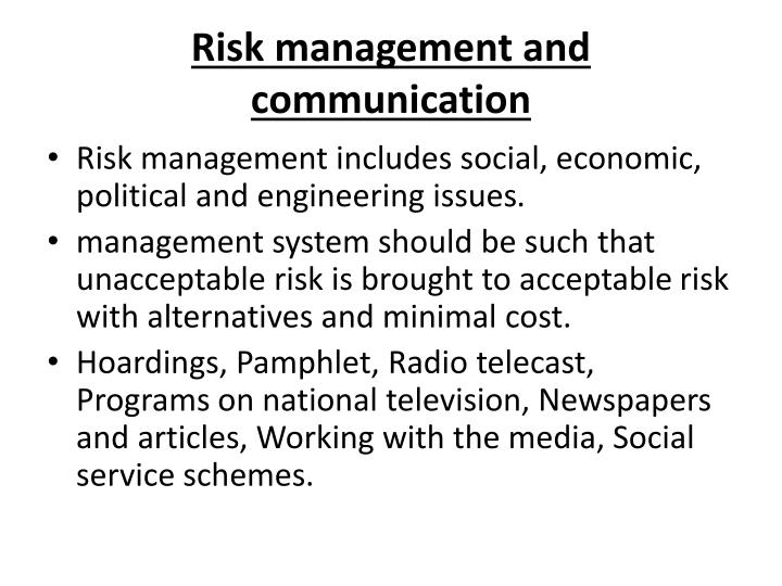 Risk management and communication