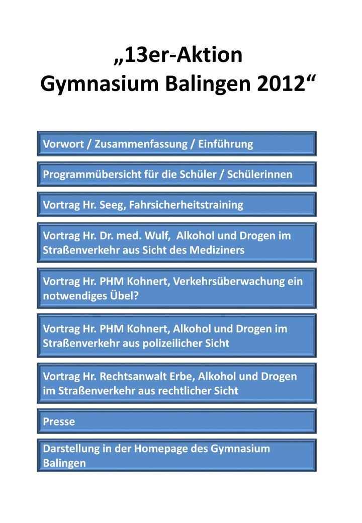 13er aktion gymnasium balingen 2012