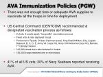 ava immunization policies pgw