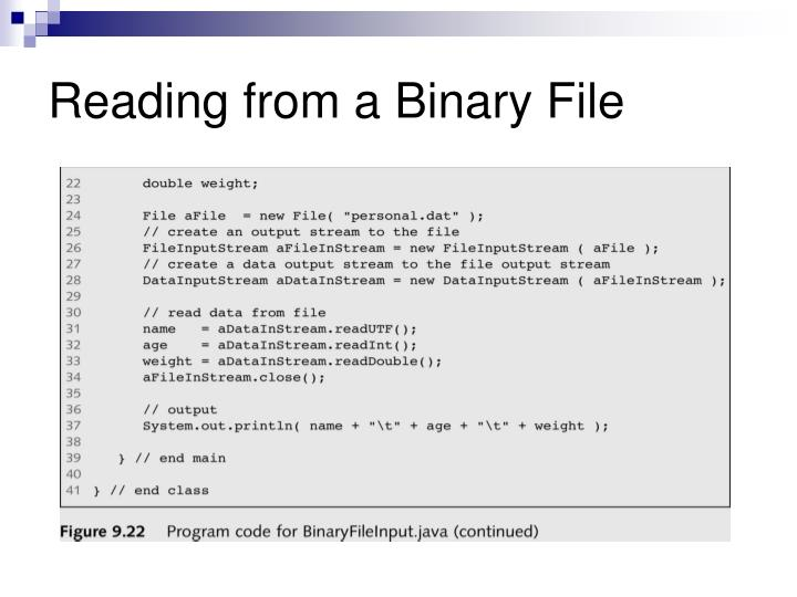 Reading from a Binary File