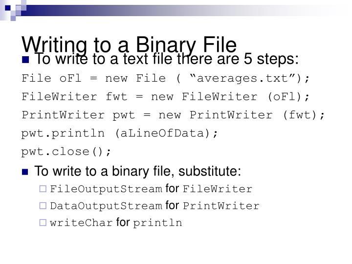 Writing to a Binary File
