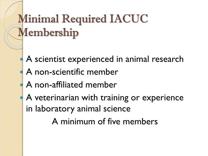 Minimal Required IACUC Membership