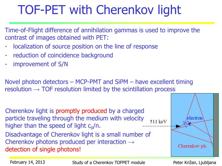 TOF-PET with Cherenkov light