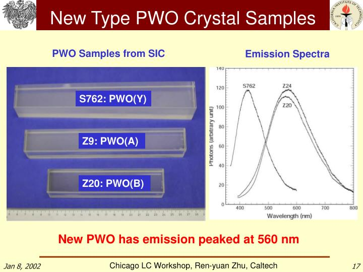 New Type PWO Crystal Samples