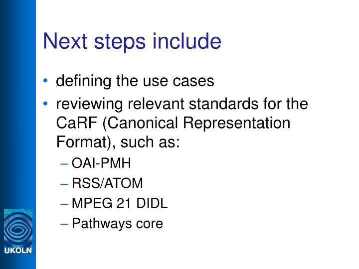 Next steps include