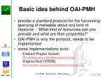 basic idea behind oai pmh