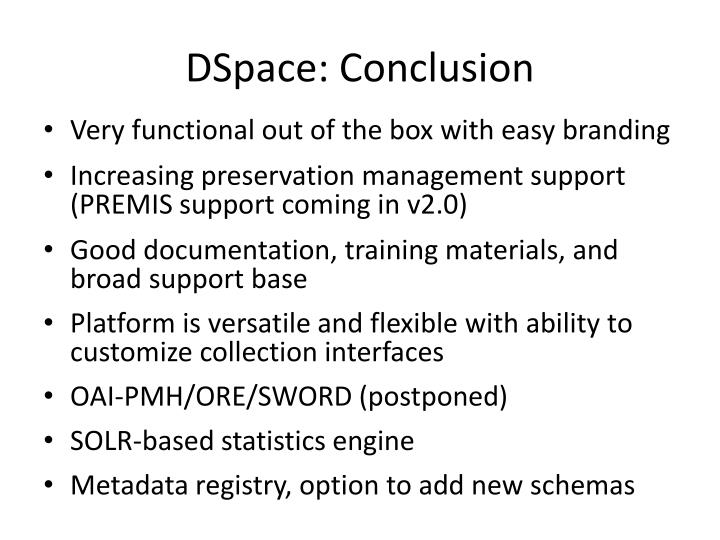 DSpace: Conclusion