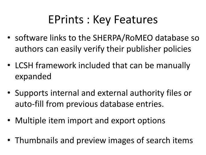 EPrints : Key Features