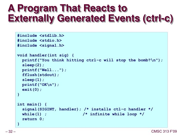 A Program That Reacts to