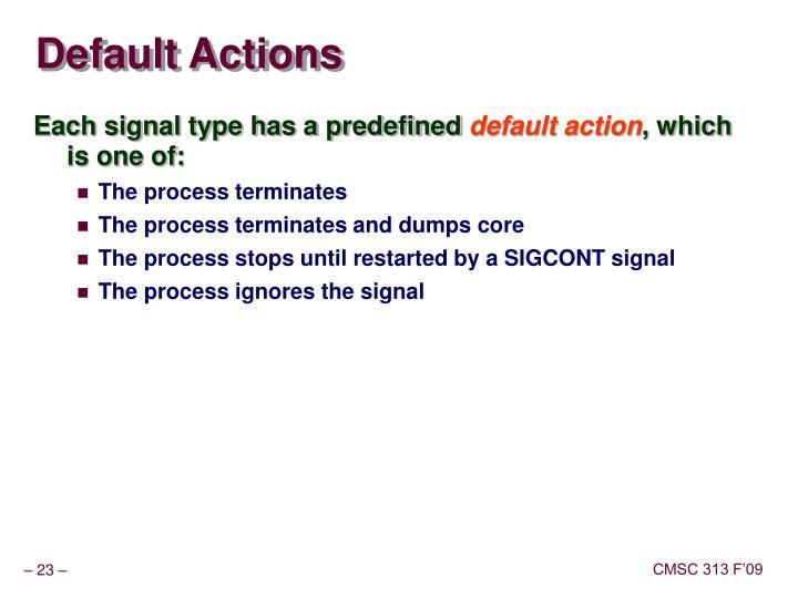 Default Actions