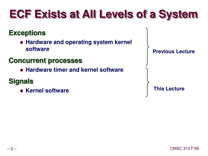 ECF Exists at All Levels of a System