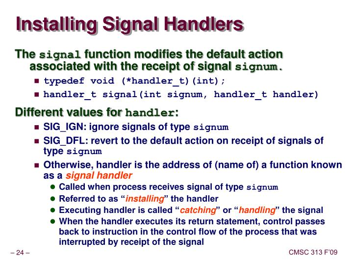 Installing Signal Handlers