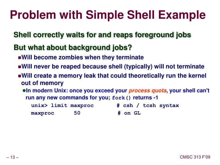 Problem with Simple Shell Example