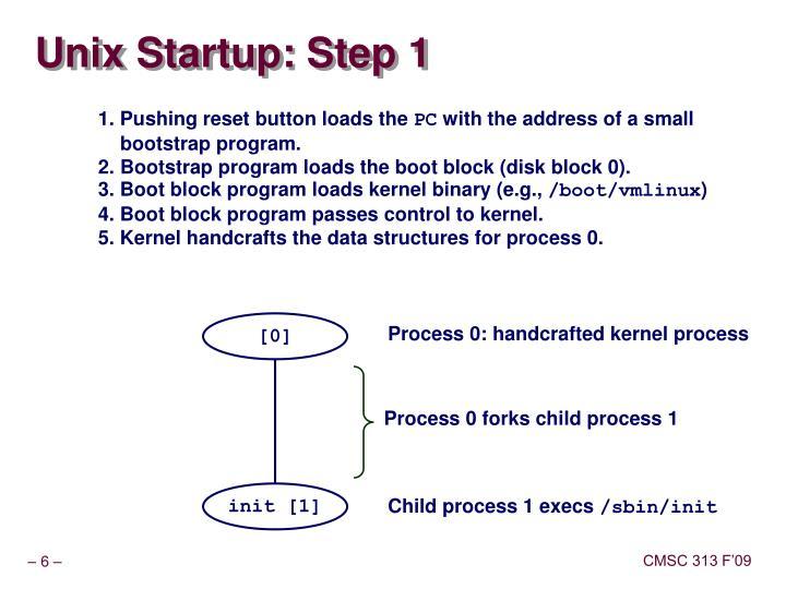 Unix Startup: Step 1