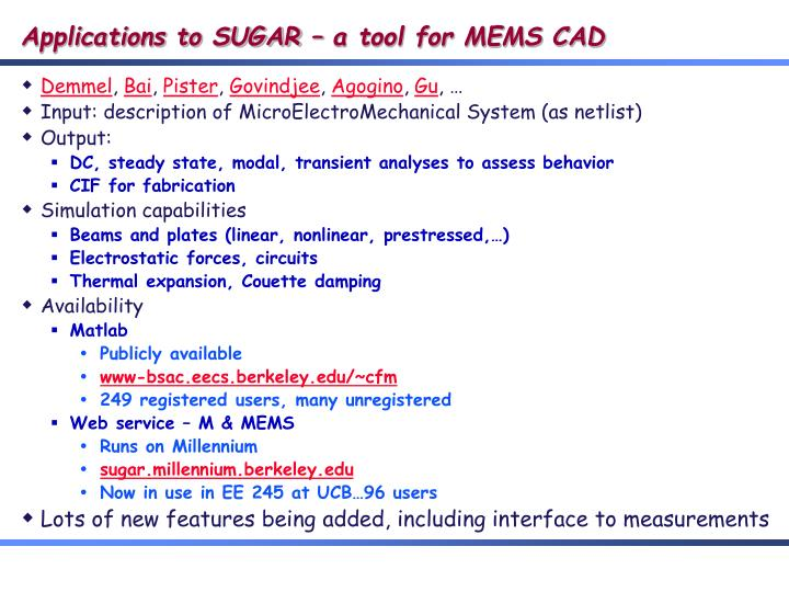 Applications to SUGAR – a tool for MEMS CAD