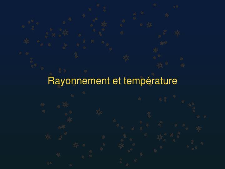Rayonnement et température