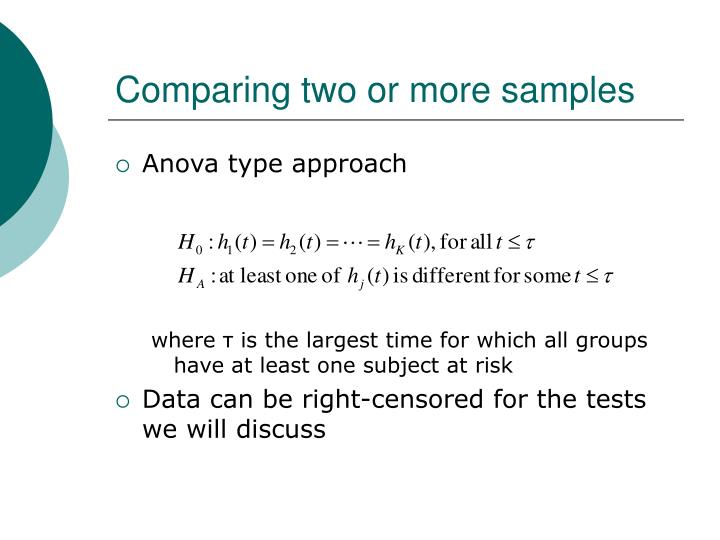 Comparing two or more samples