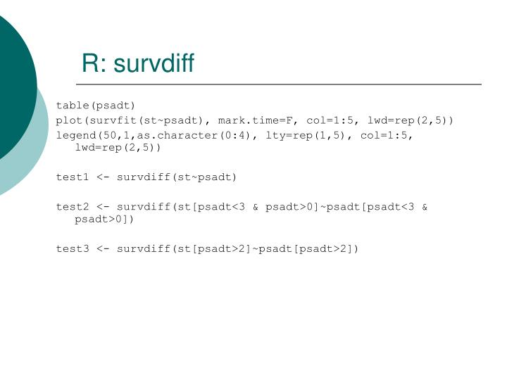 R: survdiff