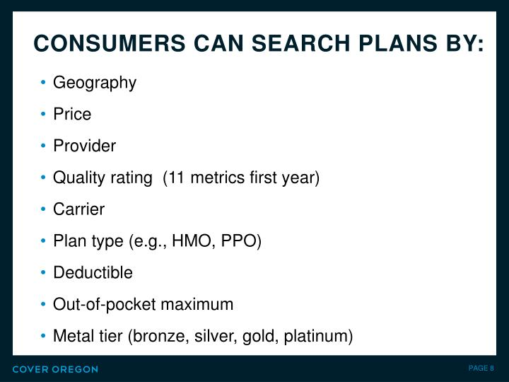 Consumers can search plans by: