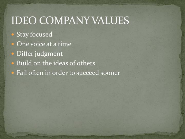 IDEO COMPANY VALUES