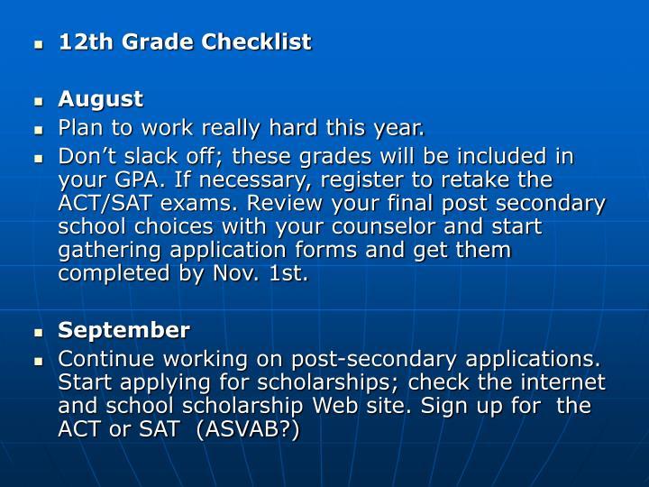 12th Grade Checklist