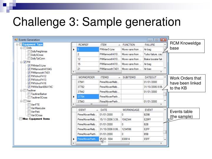 Challenge 3: Sample generation