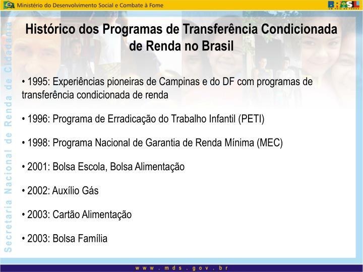 Histórico dos Programas de Transferência Condicionada