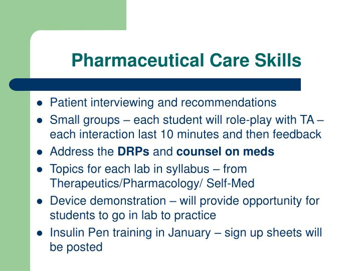 Pharmaceutical Care Skills