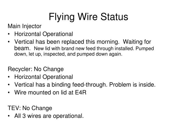Flying Wire Status