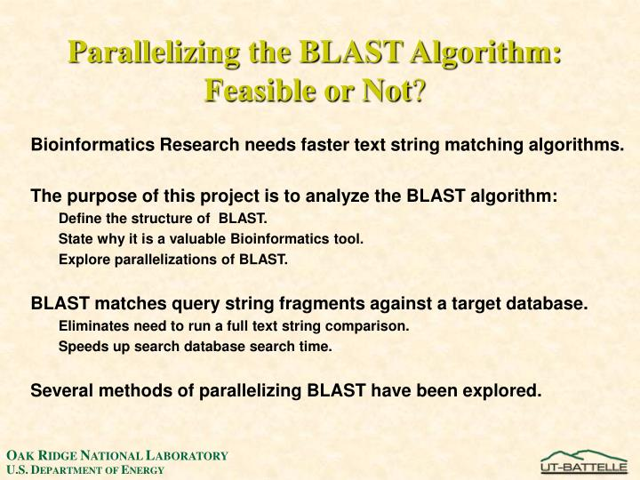 Parallelizing the BLAST Algorithm: