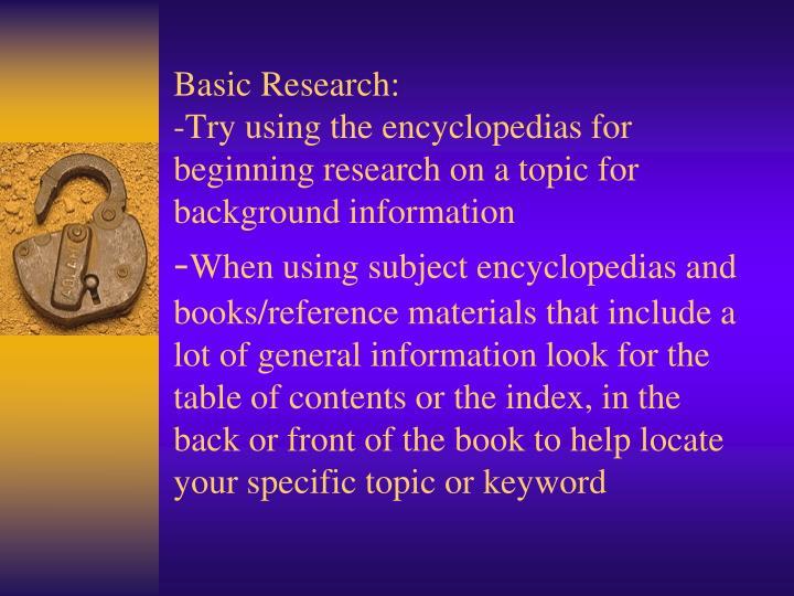 Basic Research: